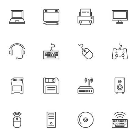 Computer gadgets line icons set. linear style symbols collection, outline signs pack. vector graphics. Set includes icons as laptop computer, designer tablet pad, keyboard, headset, mouse, wifi