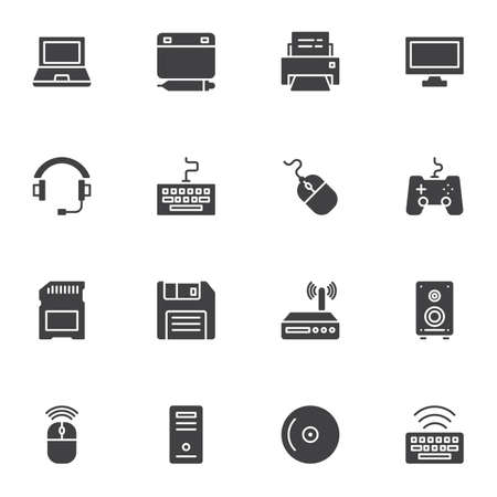 Computer gadgets vector icons set, modern solid symbol collection, filled style pictogram pack. Signs, logo illustration. Set includes icons as laptop computer, designer tablet pad, keyboard, headset