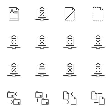 Document files line icons set. linear style symbols collection, File folders outline signs pack. vector graphics. Set includes icons as download, upload, transfer document, server archive folder, doc