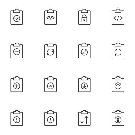 Document flow line icons set. linear style symbols collection, outline signs pack. vector graphics. Set includes icons as clipboard document folder files, update, download, upload, history archive