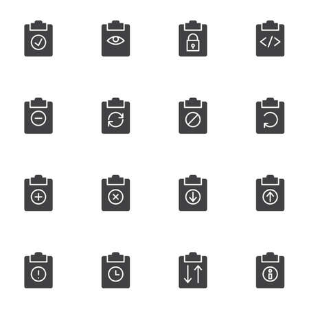 Document flow vector icons set, modern solid symbol collection, filled style pictogram pack. Signs, logo illustration. Set includes icons as clipboard document folder files, update, download, upload