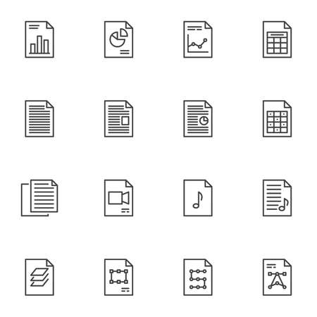 Document files line icons set. linear style symbols collection, File folders outline signs pack. vector graphics. Set includes icons as financial report, diagram presentation, history archive, copy