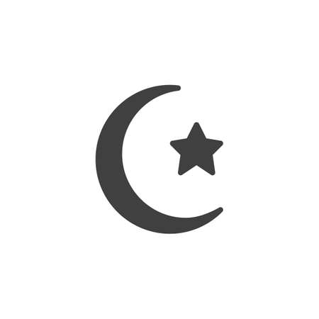 Crescent moon with star vector icon. filled flat sign for mobile concept and web design. Islamic moon and star glyph icon. Symbol, logo illustration. Vector graphics Ilustrace