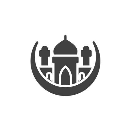 Islamic Mosque vector icon. filled flat sign for mobile concept and web design. Muslim moon and Mosque glyph icon. Ramadan kareem symbol, logo illustration. Vector graphics