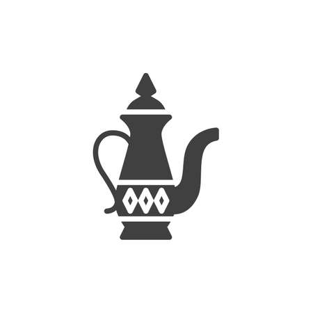 Arabic coffee pot vector icon. filled flat sign for mobile concept and web design. Ramadan Kareem Jug glyph icon. Symbol, logo illustration. Vector graphics Ilustrace