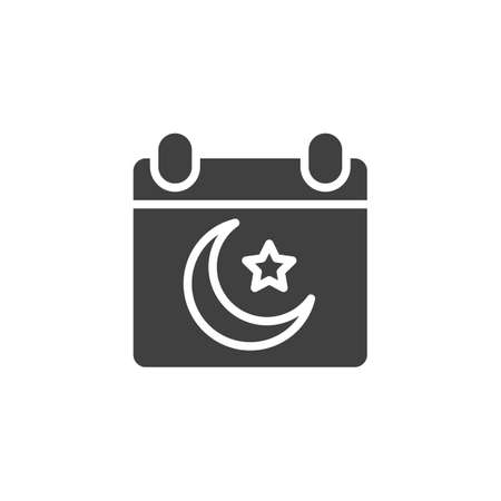 Islamic calendar vector icon. filled flat sign for mobile concept and web design. Calendar page with muslim moon and star glyph icon. Ramadan Kareem symbol, logo illustration. Vector graphics