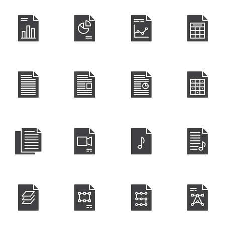 Document files vector icons set, modern solid symbol collection, filled style pictogram pack. Signs, logo illustration. Set includes icons as financial report, diagram presentation, history archive