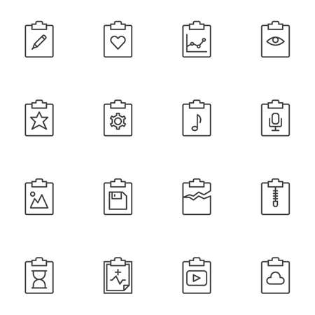 Document flow line icons set. linear style symbols collection, File folders outline signs pack. vector graphics. Set includes icons as edit document, favorite, business report infographic, settings