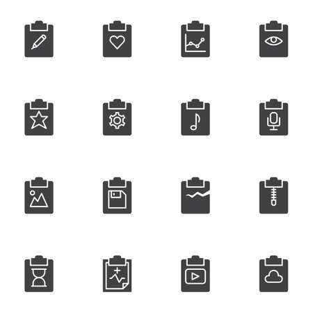 Document flow vector icons set, modern solid symbol collection, filled style pictogram pack. Signs, logo illustration. Set includes icons as edit document, favorite, business report graph, settings Ilustrace