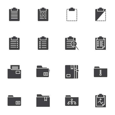 Document folders vector icons set, modern solid symbol collection, filled style pictogram pack. Signs, logo illustration. Set includes icons as archive file, history search, list page, contract form