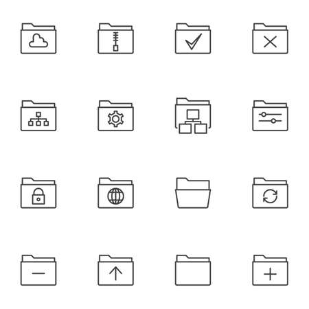 Folders interface line icons set. linear style symbols collection, outline signs pack. vector graphics. Set includes icons as storage folder, zip archive, settings, security, update, reject, network Ilustrace