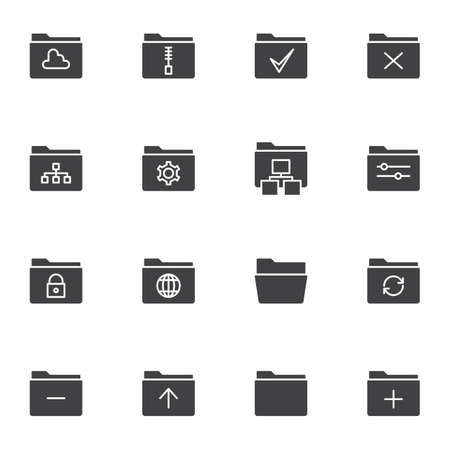 Folders interface vector icons set, modern solid symbol collection, filled style pictogram pack. Signs, logo illustration. Set includes icons as storage folder, zip archive, settings, security, update Ilustrace
