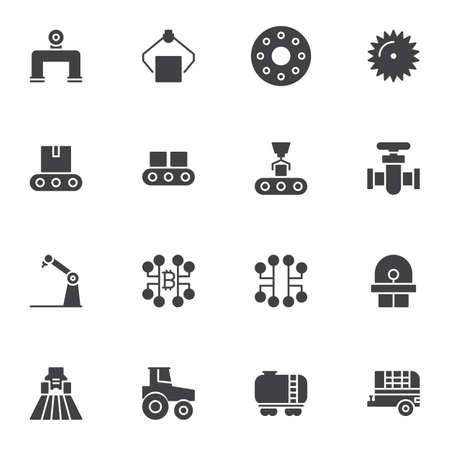 Industry vector icons set, modern solid symbol collection, filled style pictogram pack. Signs, logo illustration. Set includes icons as robotic arm, conveyor belt, field tractor, oil tank, farming Ilustrace