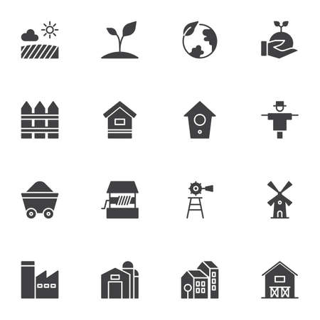 Farming vector icons set, modern solid symbol collection, filled style pictogram pack. Signs, logo illustration. Set includes icons as windmill, warehouse, field, growing plant, earth globe, factory