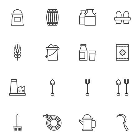 Gardening tools line icons set. linear style symbols collection, Farming outline signs pack. vector graphics. Set includes icons as flour sack, milk bottle, chicken eggs, shovel, rack, watering hose