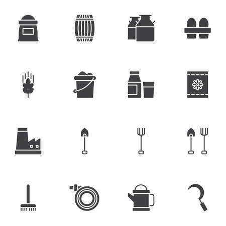 Gardening tools vector icons set, modern solid symbol collection, filled style pictogram pack. Signs, logo illustration. Set includes icons as flour sack, milk bottle, chicken eggs, shovel, watering Ilustrace