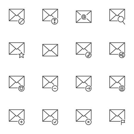 Message notification line icons set. linear style symbols collection, Mail notice outline signs pack. vector graphics. Set includes icons as envelope letter, email sending, security, private, sharing