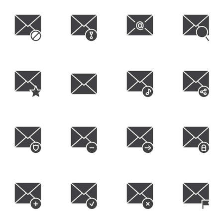 Message notification vector icons set, modern solid symbol collection, Mail notice filled style pictogram pack. Signs, logo illustration. Set includes icons as envelope letter, email sending, security
