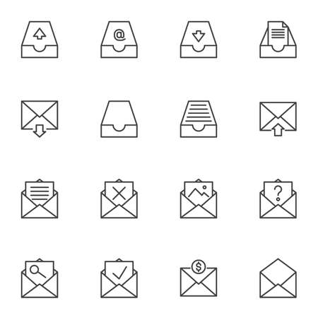 Mail archives line icons set. linear style symbols collection outline signs pack. vector graphics. Set includes icons as open envelope message, document file, portfolio, email download, history search