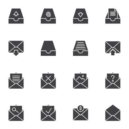 Mail archives vector icons set, modern solid symbol collection, filled style pictogram pack. Signs, logo illustration. Set includes icons as open envelope message, document, portfolio, email download Ilustrace