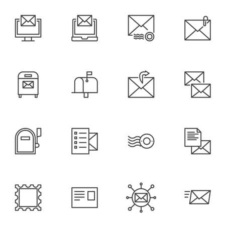 Post service line icons set. Email linear style symbols collection, outline signs pack. Mail vector graphics. Set includes icons as online messaging, envelope watermark, postage stamp, mailbox Ilustrace
