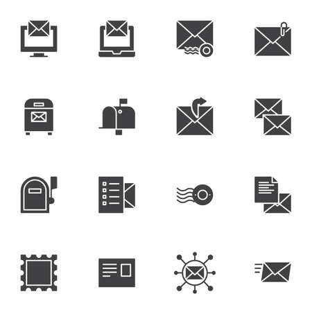 Post service vector icons set, modern solid symbol collection, filled style pictogram pack. Signs, logo illustration. Set includes icons as online messaging, envelope watermark, postage stamp, mailbox
