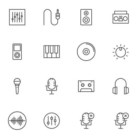 Music and sound line icons set. linear style symbols collection, Voice recording outline signs pack. vector graphics. Set includes icons as sound mixer, volume equalizer, studio microphone, headphones