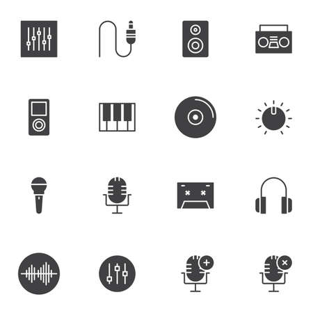 Music and sound vector icons set, modern solid symbol collection, filled style pictogram pack. Signs, logo illustration. Set includes icons as mixer, volume equalizer, studio microphone, headphones Ilustrace