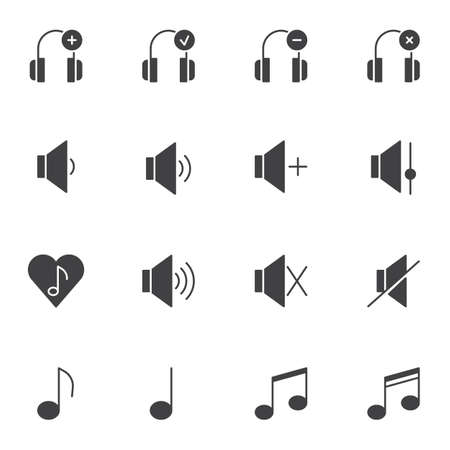 Sound, audio vector icons set, modern solid symbol collection, filled style pictogram pack. Signs logo illustration. Set includes icons as headphones, musical note, silent, favorite song, volume level Ilustrace
