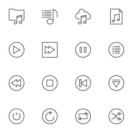 Music player buttons line icons set. linear style symbols collection, outline signs pack. vector graphics. Set includes icons as music folder, songs cloud storage, pause, play, stop, shuffle, playlist Ilustrace