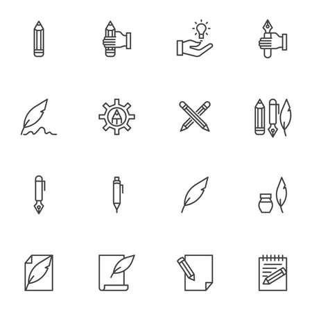 Writing tool line icons set. linear style symbols collection, Copywriting outline signs pack. vector graphics. Set includes icons as feather pen, pencil, ink pen, edit document, memo notes, notepad