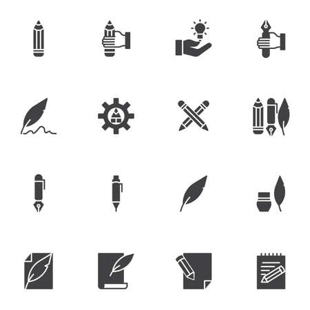 Writing tool vector icons set, modern solid symbol collection, filled style pictogram pack. Signs, logo illustration. Set includes icons as feather pen, pencil, ink, edit document, memo notes, notepad