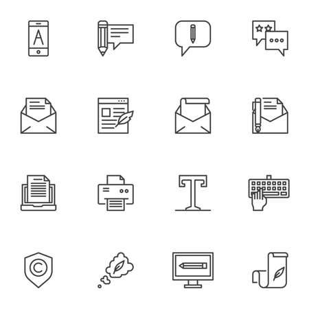 Document edit line icons set. Copywriting linear style symbols collection, outline signs pack. vector graphics. Set includes icons as message writing, text font, envelope mail, email document, mobile