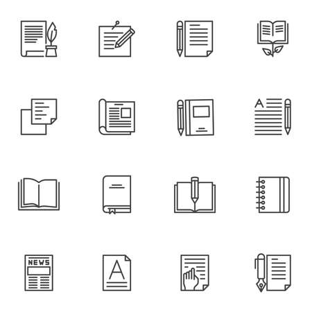 Writing notes line icons set. linear style symbols collection, Document edit outline signs pack. vector graphics. Set includes icons as inkwell and ink pen, book, notepad, reading, newspaper, magazine
