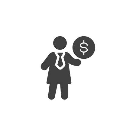 Business woman and dollar coin vector icon. filled flat sign for mobile concept and web design. Business people money glyph icon. Symbol,   illustration. Vector graphics Ilustracja