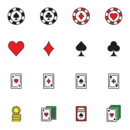 Casino gambling filled outline icons set, line vector symbol collection, linear colorful pictogram pack. Signs logo illustration, Set includes icons as casino chips, gaming cards, coins, ace of hearts