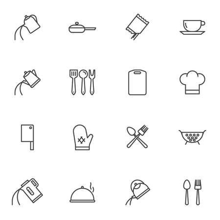 Cooking utensils line icons set. Kitchenware linear style symbols collection, cookware outline signs pack. vector graphics. Set includes icons as tea kettle, coffee pot, colander, cook hat, cutlery Illustration