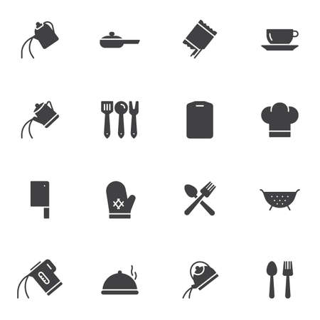 Cooking utensils vector icons set, modern solid symbol collection, filled style pictogram pack. Signs, logo illustration. Set includes icons as tea kettle, coffee pot, colander, cook hat, cutlery Illustration