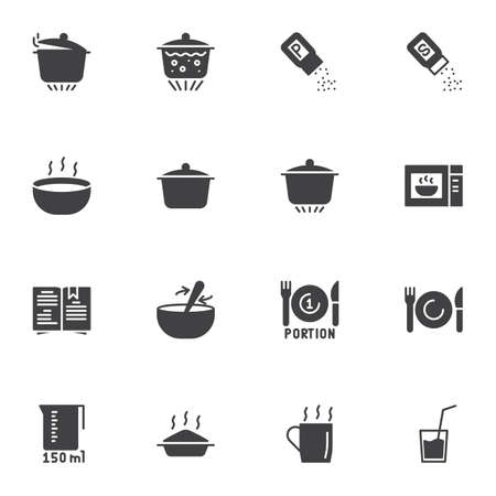 Cooking and preparation vector icons set, modern solid symbol collection, filled style pictogram pack. Signs, logo illustration. Set includes icons as saucepan, boiling pan, microwave oven, cookbook
