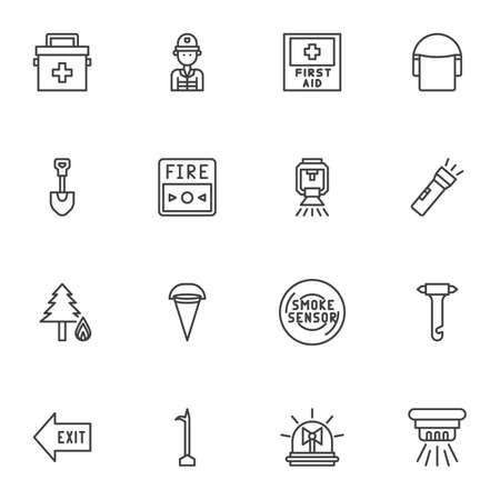 Safety instructions line icons set. linear style symbols collection, Emergency outline signs pack. vector graphics. Set includes icons as smoke sensor, medical bag, exit direction, fire button, water