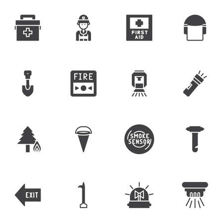 Safety instructions vector icons set, modern solid symbol collection, Emergency filled style pictogram pack. Signs, logo illustration. Set includes icons as smoke sensor, medical bag, exit direction