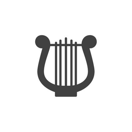 Harp music instrument vector icon. filled flat sign for mobile concept and web design. Lyre music glyph icon. Symbol, logo illustration. Vector graphics