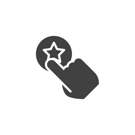 Click rating star vector icon. Add to favorite filled flat sign for mobile concept and web design. Hand pressing feedback button glyph icon. Symbol, logo illustration. Vector graphics