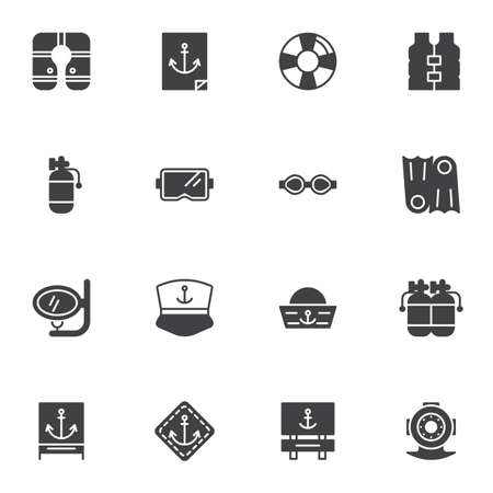 Swimming diving vector icons set, modern solid symbol collection, filled style pictogram pack. Signs, logo illustration. Set includes icons as flippers, diving oxygen cylinder, mask, scuba tank