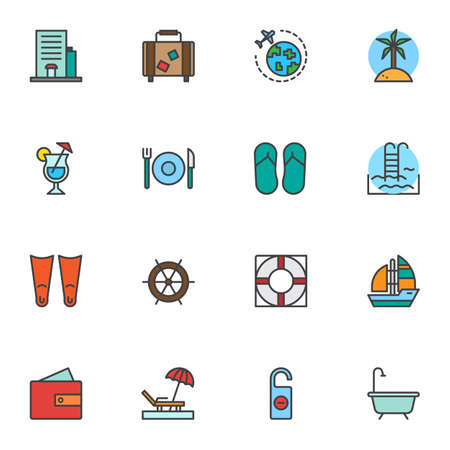 Travel service, filled outline icons set, line vector symbol collection, linear colorful pictogram pack. Signs, logo illustration, Set includes icons as worldwide travel, luggage bag, swimming pool