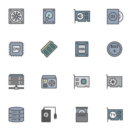 Computer parts filled outline icons set, line vector symbol collection, Computer Hardware linear colorful pictogram pack. Signs, logo illustration, Set includes icons as CPU processor, HDD, SSD, Bios