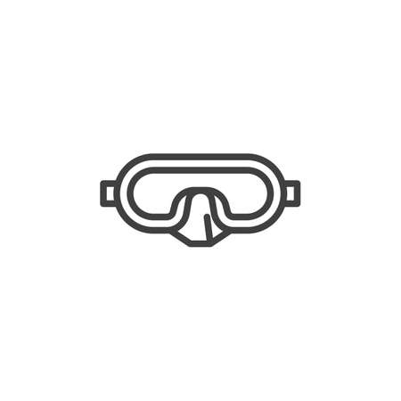 Diving mask line icon. linear style sign for mobile concept and web design. Diving goggles outline vector icon. Symbol, logo illustration. Vector graphics