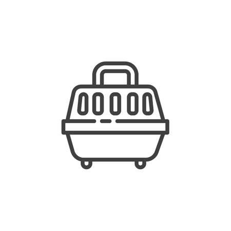 Pet carrier line icon. linear style sign for mobile concept and web design. Animals carrying box outline vector icon. Symbol, logo illustration. Vector graphics