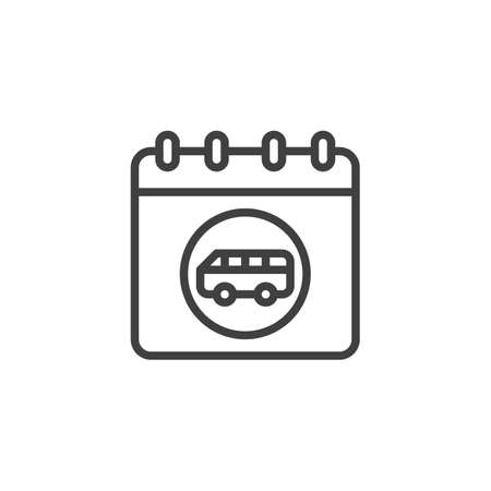 Bus trip date page line icon. Calendar with bus linear style sign for mobile concept and web design. Travel reminder calendar outline vector icon. Symbol, logo illustration. Vector graphics 向量圖像