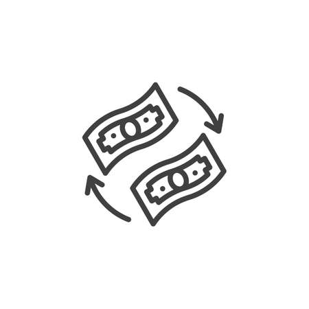 Currency exchange line icon. linear style sign for mobile concept and web design. Money turnover outline vector icon. Symbol, logo illustration. Vector graphics